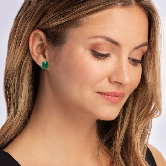 6.00 ct. t.w. Emerald Stud Earrings with 18kt Gold Over Sterling