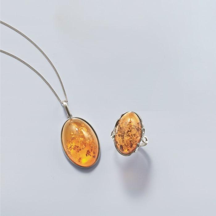 Orange Amber Ring in Sterling Silver
