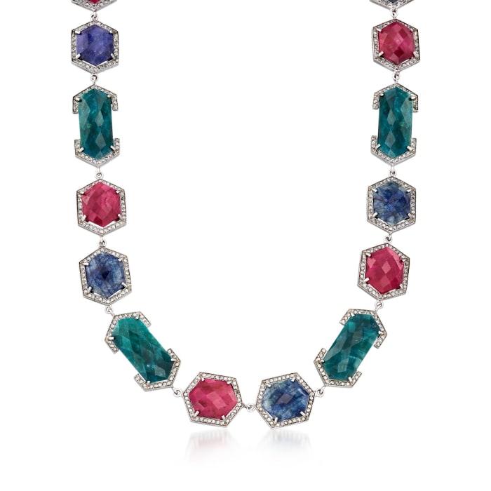140.00 ct. t.w. Multicolored Corundum Necklace with 4.80 ct. t.w. White Zircon in Sterling Silver