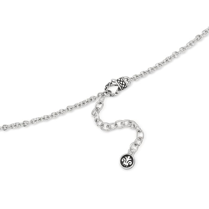 "Andrea Candela ""Fleur De Lis"" 4.43 Carat Amethyst Pendant Necklace in Sterling Silver"