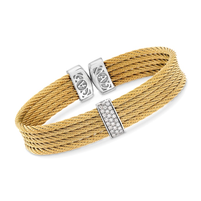 """ALOR """"Classique"""" Yellow Stainless Steel Cable Cuff Bracelet with .19 ct. t.w. Diamonds and 18kt White Gold"""