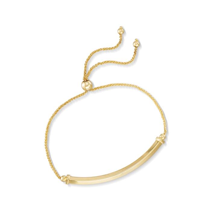 14kt Yellow Gold Bar Bolo Bracelet
