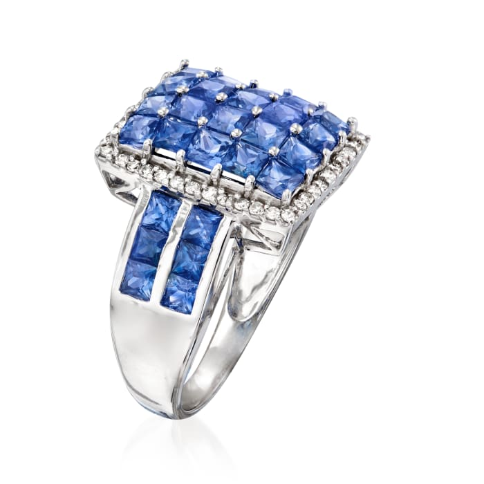 3.50 ct. t.w. Sapphire and .22 ct. t.w. Diamond Ring in 14kt White Gold