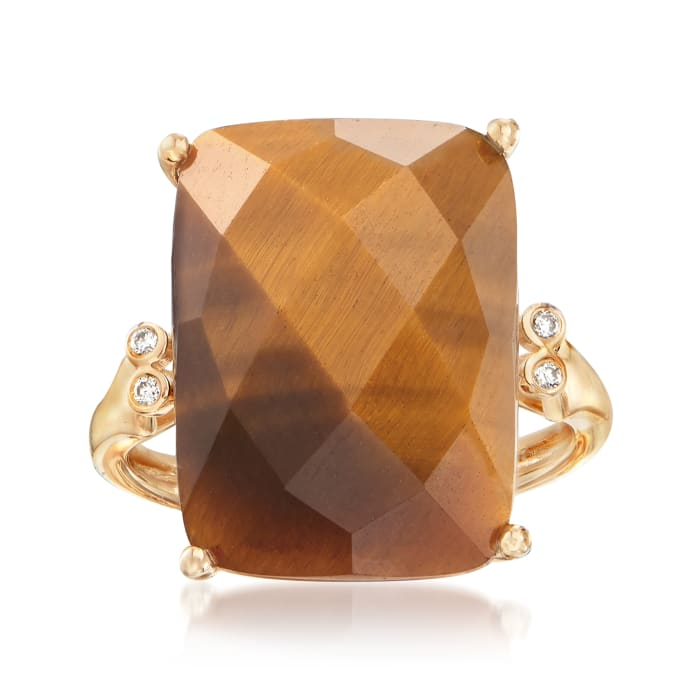 Tigereye Ring with Diamond Accents in 14kt Yellow Gold