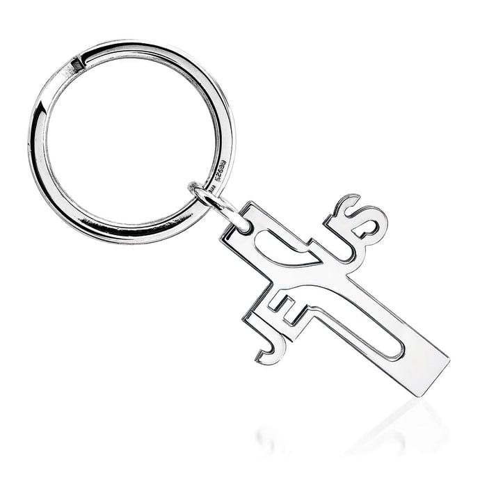 Sterling Silver  Jesus Cross Key Ring