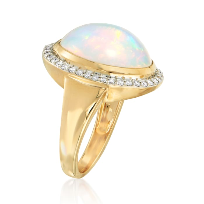Opal and .36 ct. t.w. Diamond Halo Ring in 14kt Yellow Gold