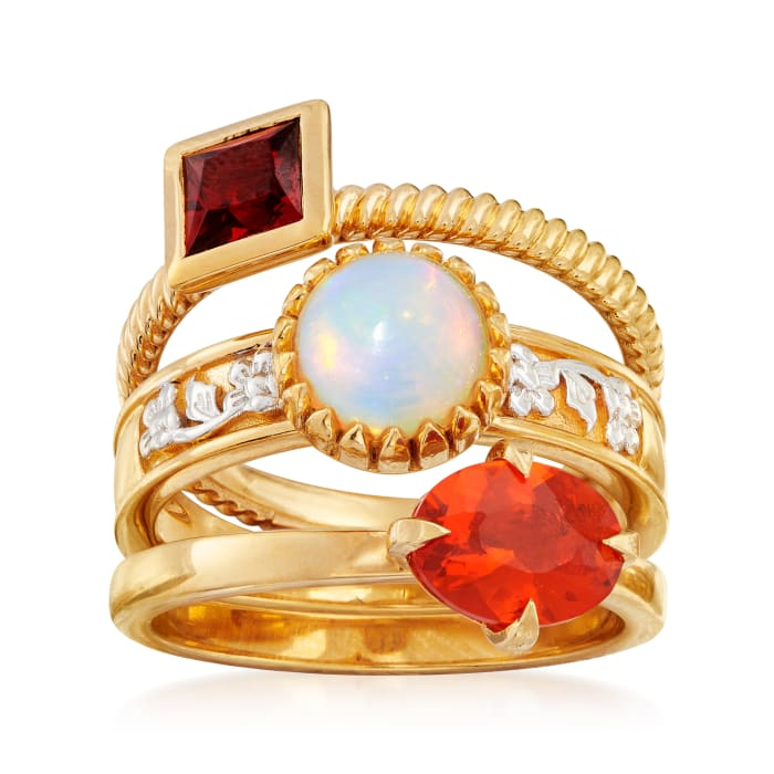 White and Orange Opal and .70 ct. t.w. Garnet Jewelry Set: Three Rings in 18kt Gold Over Sterling