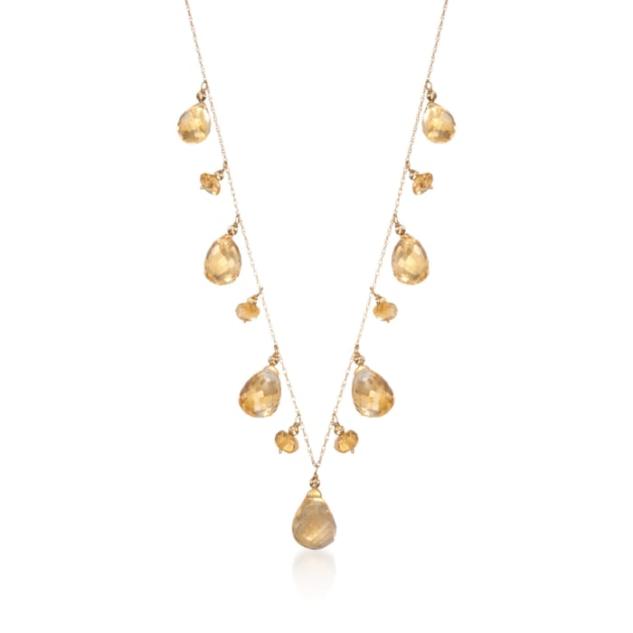 35.00 ct. t.w. Citrine Drop Necklace in 14kt Yellow Gold