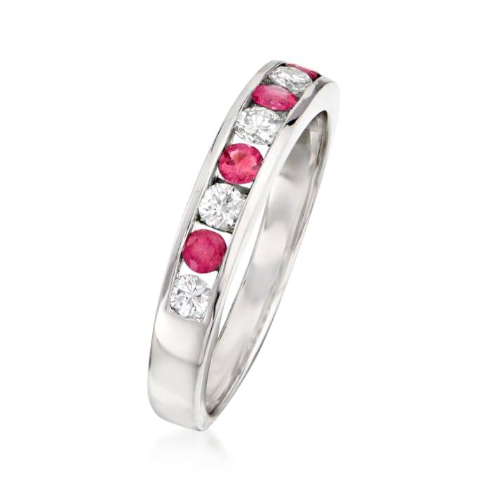 .28 ct. t.w. Diamond and .20 ct. t.w. Ruby Ring in 18kt White Gold