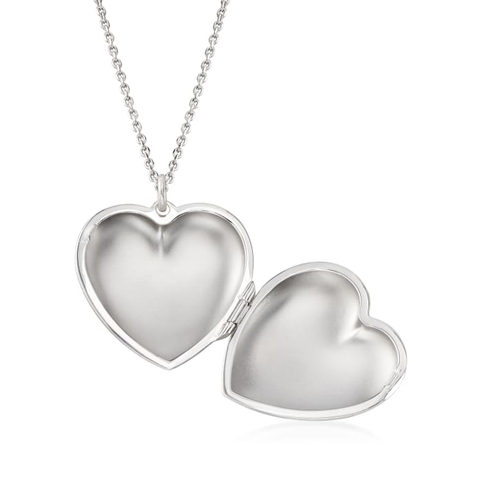 Italian Sterling Silver Monogram Heart Locket Necklace