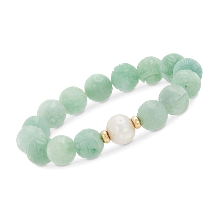 """11-12mm Cultured Pearl and Carved Jade Chinese """"Dragon"""" Beaded Stretch Bracelet with 14kt Yellow Gold"""
