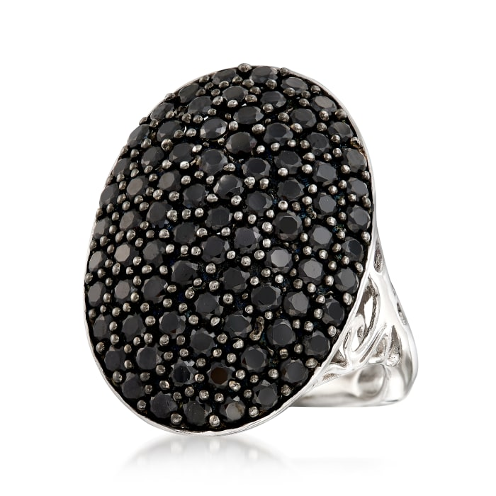 3.00 ct. t.w. Black Spinel Oval Ring in Sterling Silver