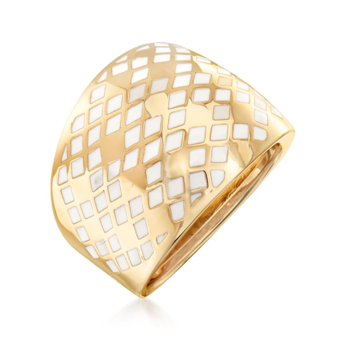Italian 14kt Yellow Gold and White Enamel Quilted-Design Dome Ring