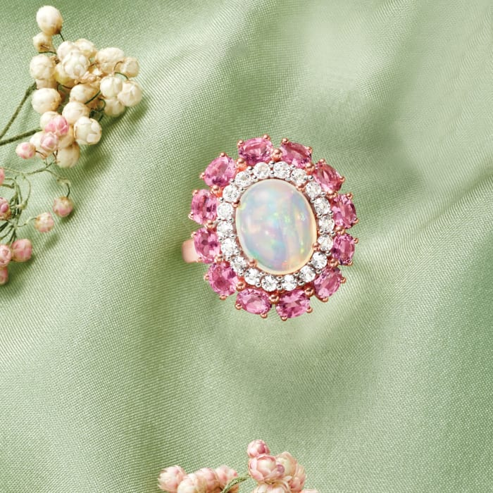 Opal, 1.50 ct. t.w. Tourmaline and .60 ct. t.w. White Topaz Ring in 14kt Rose Gold Over Sterling