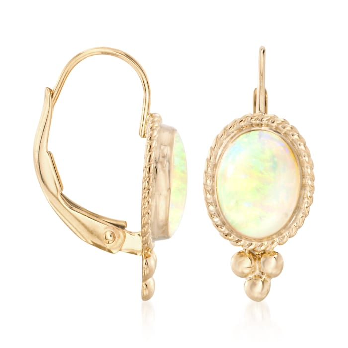 Opal Rope Edge Earrings in 14kt Yellow Gold