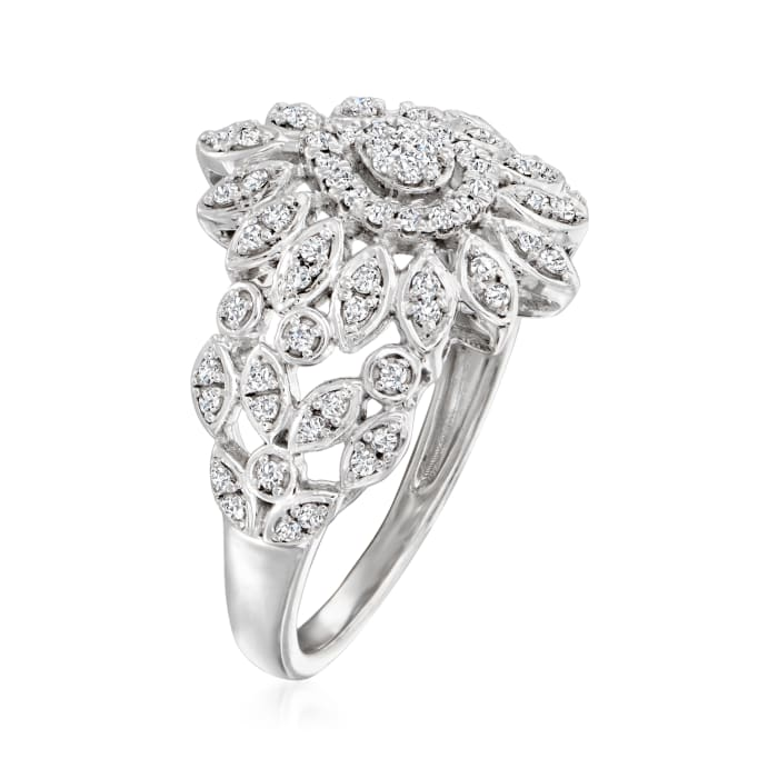 .40 ct. t.w. Diamond Floral Ring in Sterling Silver