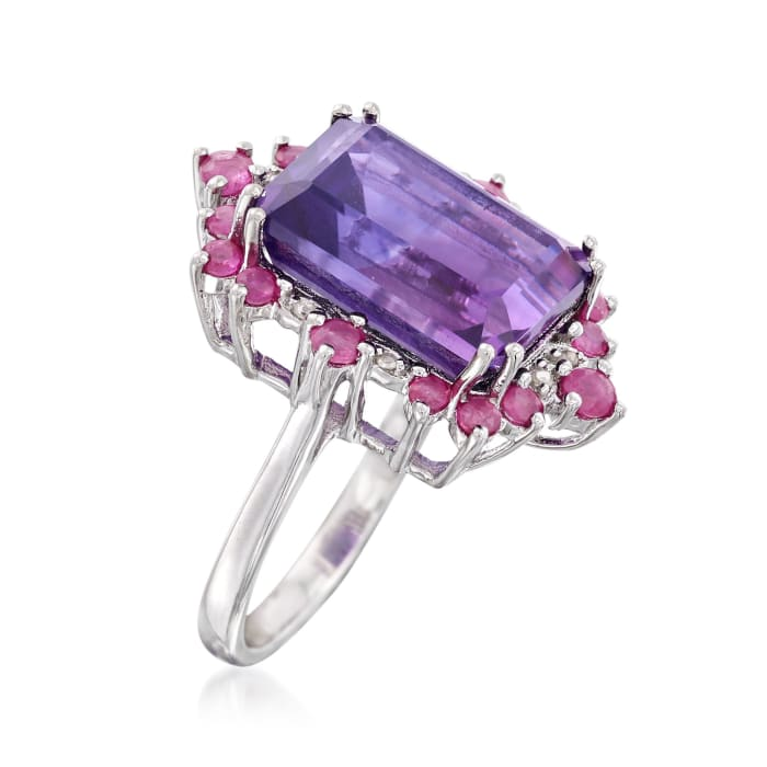 7.00 Carat Amethyst and .90 ct. t.w. Ruby Frame Ring in Sterling Silver