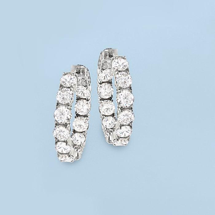 10.00 ct. t.w. CZ Inside-Outside Hoop Earrings in Sterling Silver