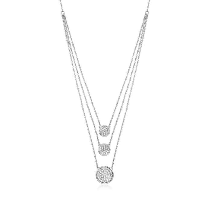 1.00 ct. t.w. Pave Diamond Circle Layered Necklace in 14kt White Gold