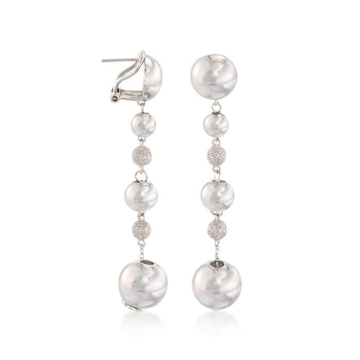 .30 ct. t.w. Pave Diamond Bead Drop Earrings in Sterling Silver