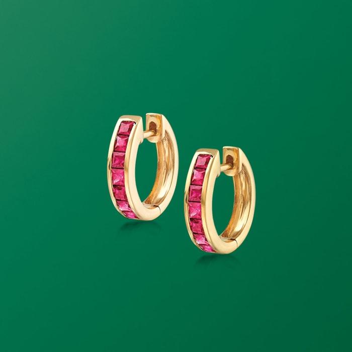 .80 ct. t.w. Ruby Huggie Hoop Earrings in 14kt Yellow Gold