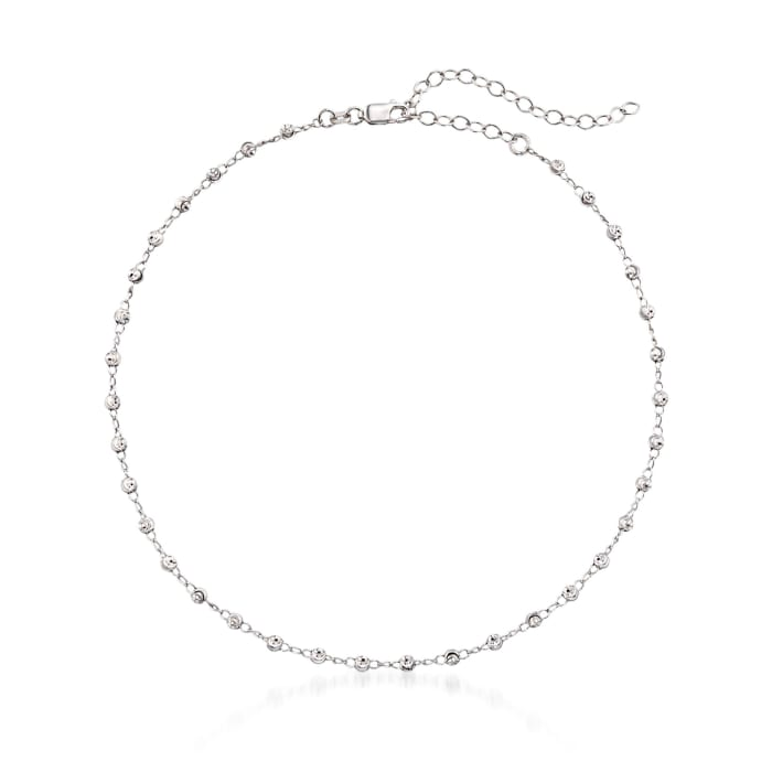Sterling Silver Beaded Choker Necklace