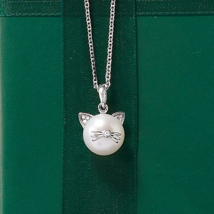 9-9.5mm Cultured Pearl Cat Pendant Necklace with Diamond Accents in Sterling Silver