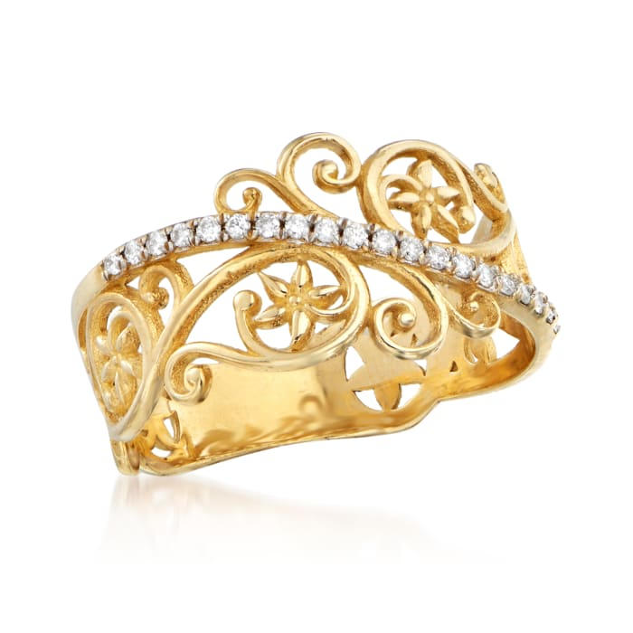 .11 ct. t.w. Diamond Openwork Floral Ring in 14kt Yellow Gold