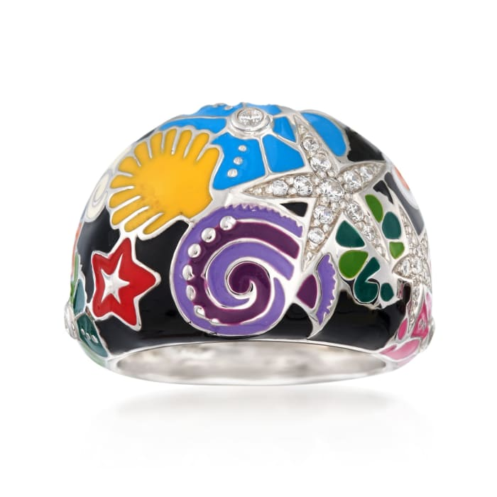 """Belle Etoile """"Starfish"""" Black and Multicolored Enamel Ring with CZs in Sterling Silver"""