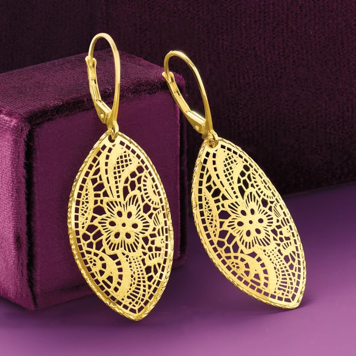Italian 14kt Yellow Gold Floral Filigree Marquise Drop Earrings