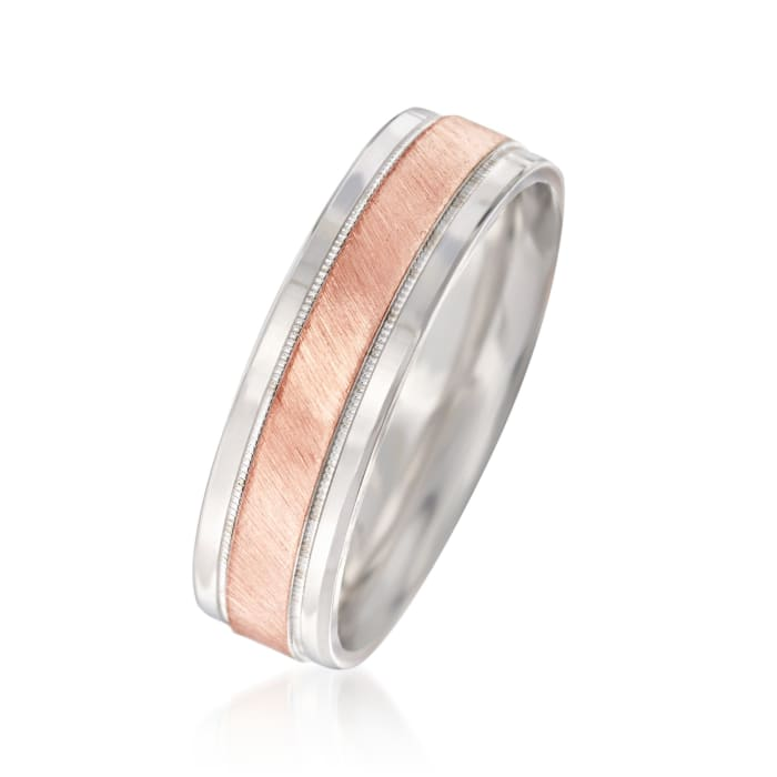 Men's 6.50mm 14kt Two-Tone Gold Wedding Ring