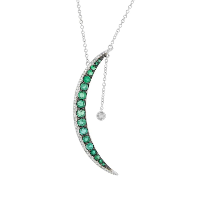 1.30 ct. t.w. Emerald and .19 ct. t.w. Diamond Half-Moon Necklace in 14kt White Gold