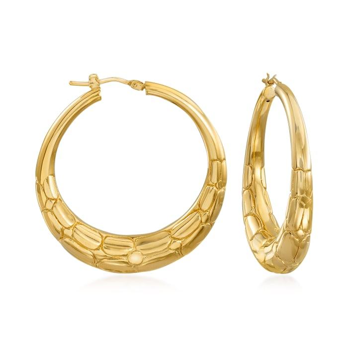 Italian 18kt Gold Over Sterling Animal Print Hoop Earrings