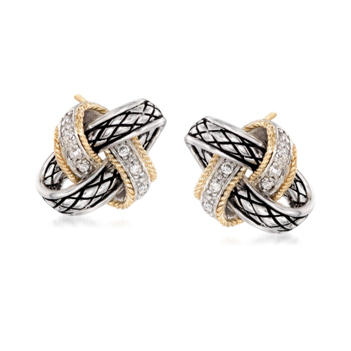 """Andrea Candela """"Nudo De Amor"""" .13 ct. t.w. Diamond Love Knot Earrings in Sterling Silver and 18kt Gold"""