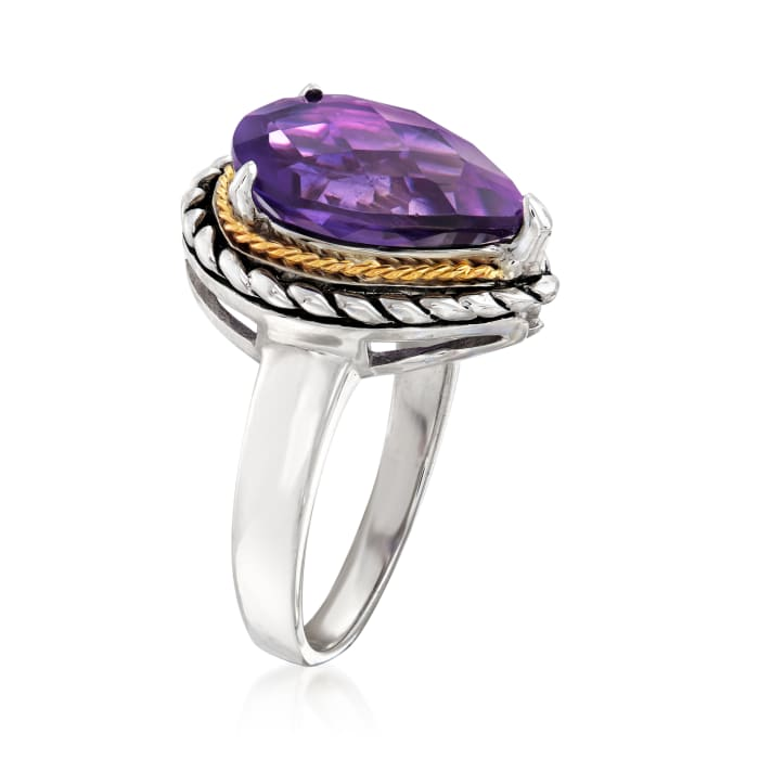 5.00 Carat Amethyst Roped Ring in Sterling Silver and 14kt Yellow Gold