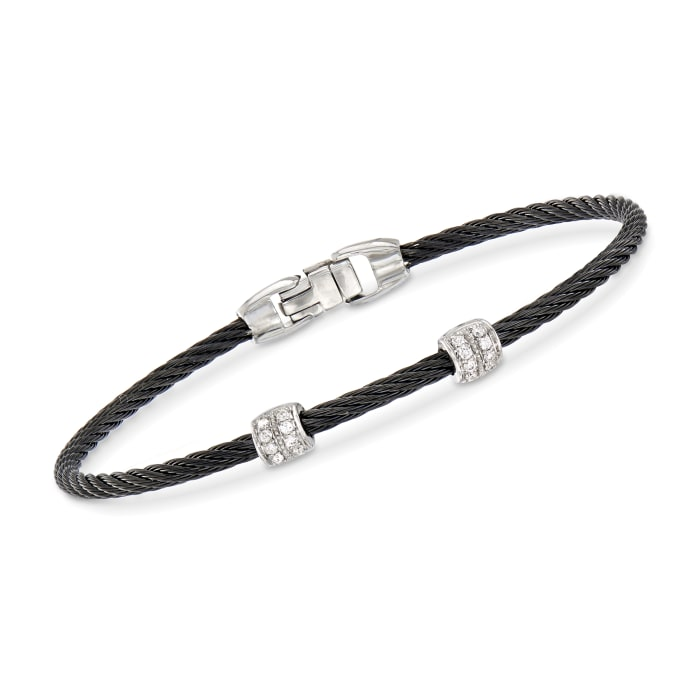 """ALOR """"Classique"""" Black Stainless Steel Cable Station Bracelet with .13 ct. t.w. Diamonds and 18kt White Gold"""