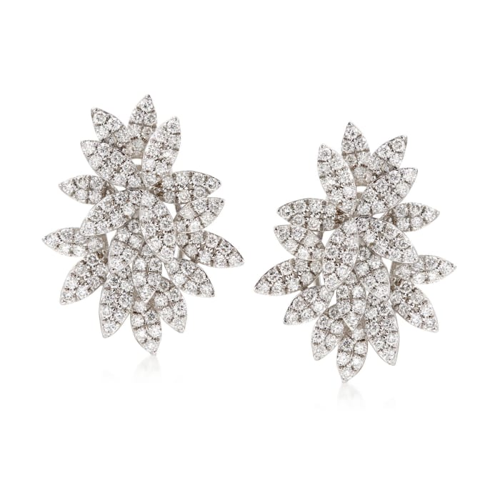 1.85 ct. t.w. Diamond Floral Earrings in 18kt White Gold