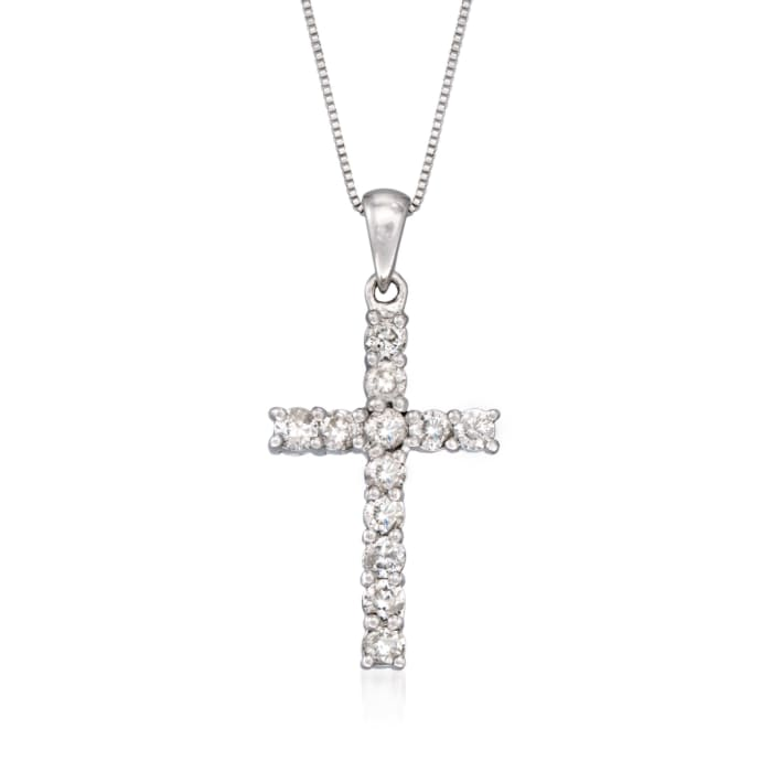 .50 ct. t.w. Diamond Cross Pendant Necklace in 14kt White Gold