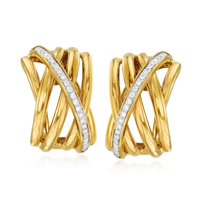 .29 ct. t.w. Diamond Crisscross Earrings in 14kt Yellow Gold