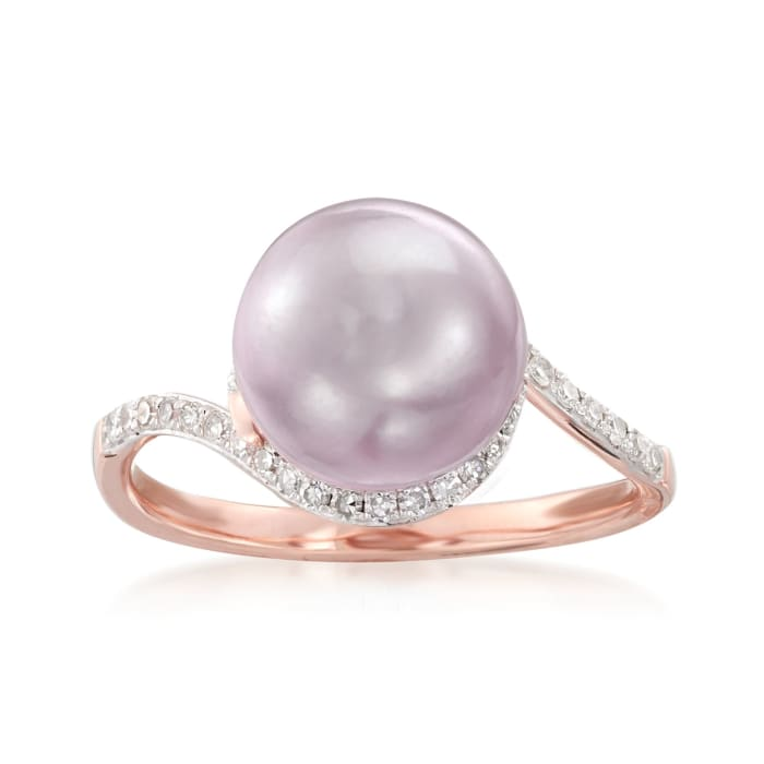 9.5mm Pink Cultured Pearl and .20 ct. t.w. Diamond Ring in 14kt Rose Gold