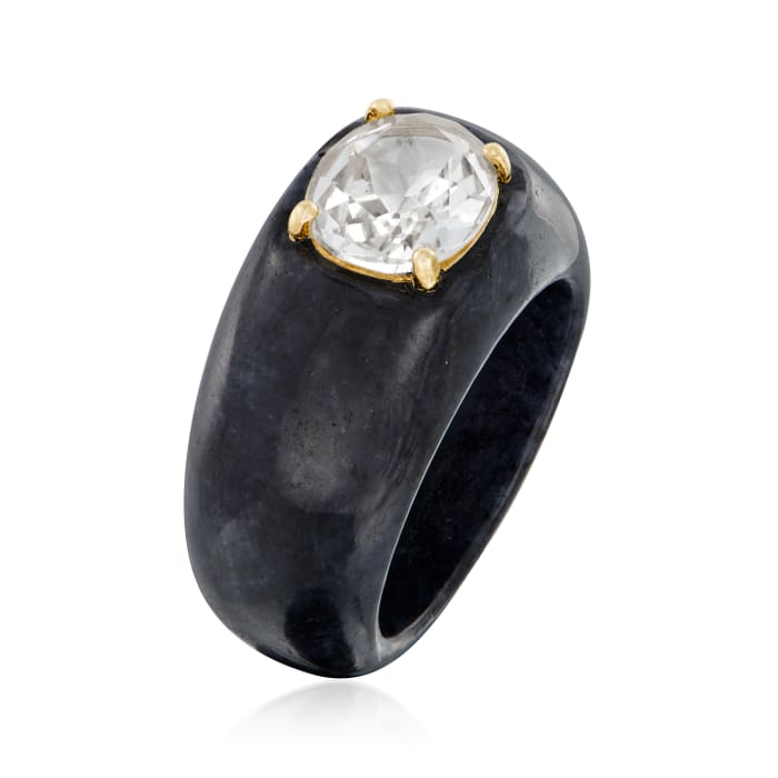Black Jade and 3.00 Carat White Topaz Ring with 14kt Yellow Gold