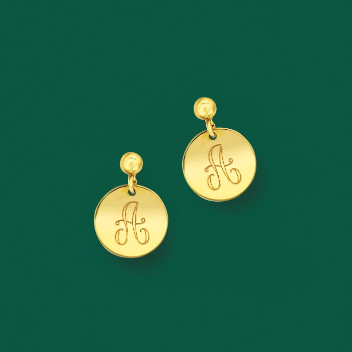Italian 14kt Yellow Gold Personalized Single- Initial Disc Drop Earrings