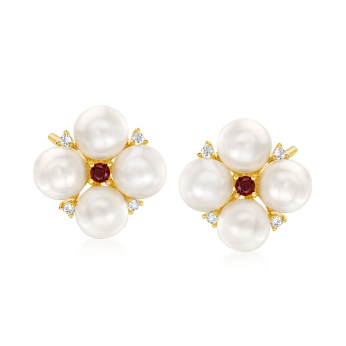 5mm Cultured Pearl and .20 ct. t.w. Multi-Gem Earrings in 18kt Gold Over Sterling