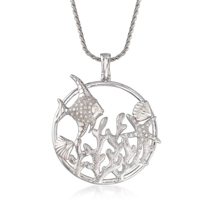 .15 ct. t.w. Diamond Sea Life Pendant Necklace in Sterling Silver