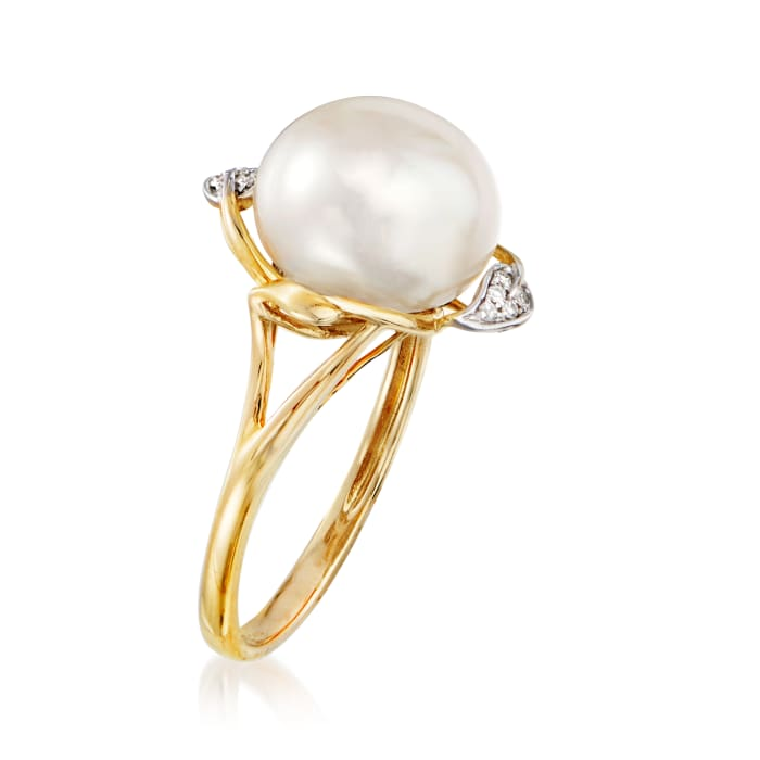 10-10.5mm Cultured Pearl Leaf Ring with Diamond Accents in 14kt Yellow Gold