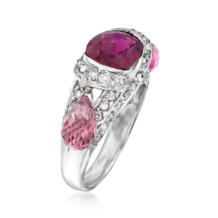 C. 2000 Vintage 5.75 ct. t.w. Pink Tourmaline and .65 ct. t.w. Diamond Dangle Ring in 18kt White Gold