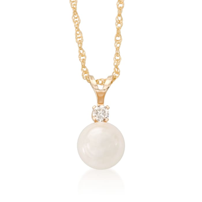 7-7.5mm Cultured Akoya Pearl and Diamond Accent Necklace in 14kt Yellow Gold