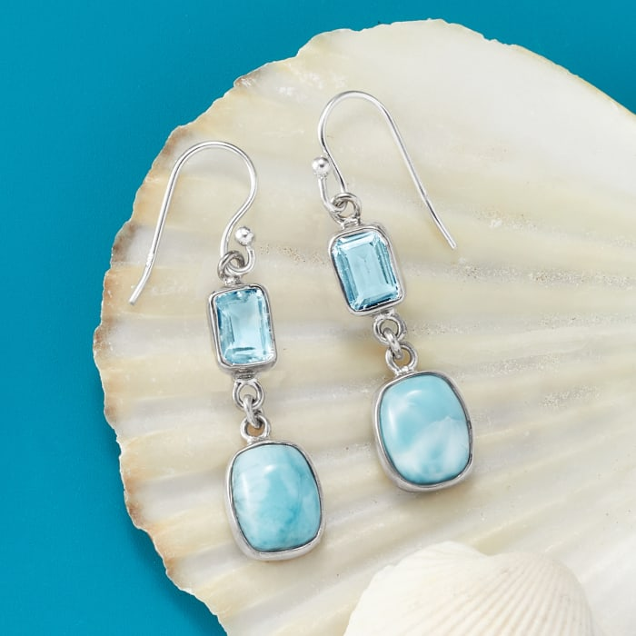 Larimar and 2.50 ct. t.w. Sky Blue Topaz Drop Earrings in Sterling Silver