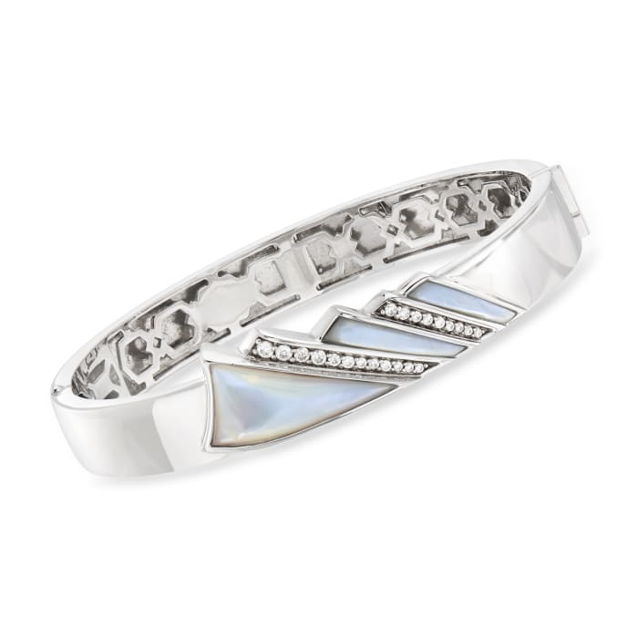 """Belle Etoile """"Empire"""" Mother-Of-Pearl and .36 ct. t.w. CZ Bangle Bracelet in Sterling Silver"""
