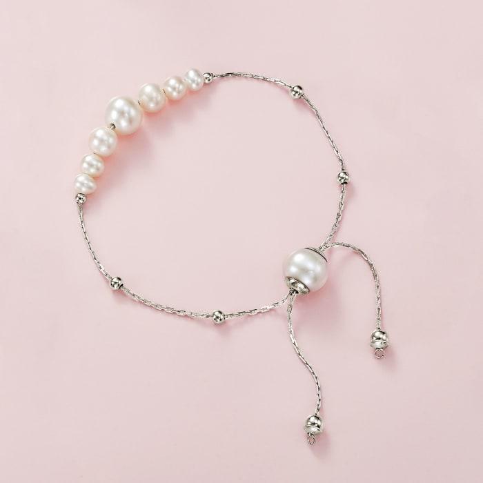 4-9.5mm Cultured Pearl Bolo Bracelet in Sterling Silver